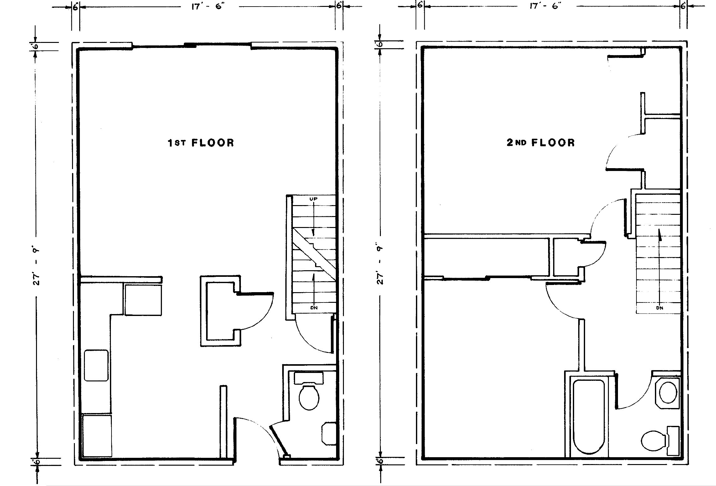 The second floor has a full bathroom and two (or three) bedrooms.The heat  is electric. Two bedroom townhomes have 975 sq ft of living area.