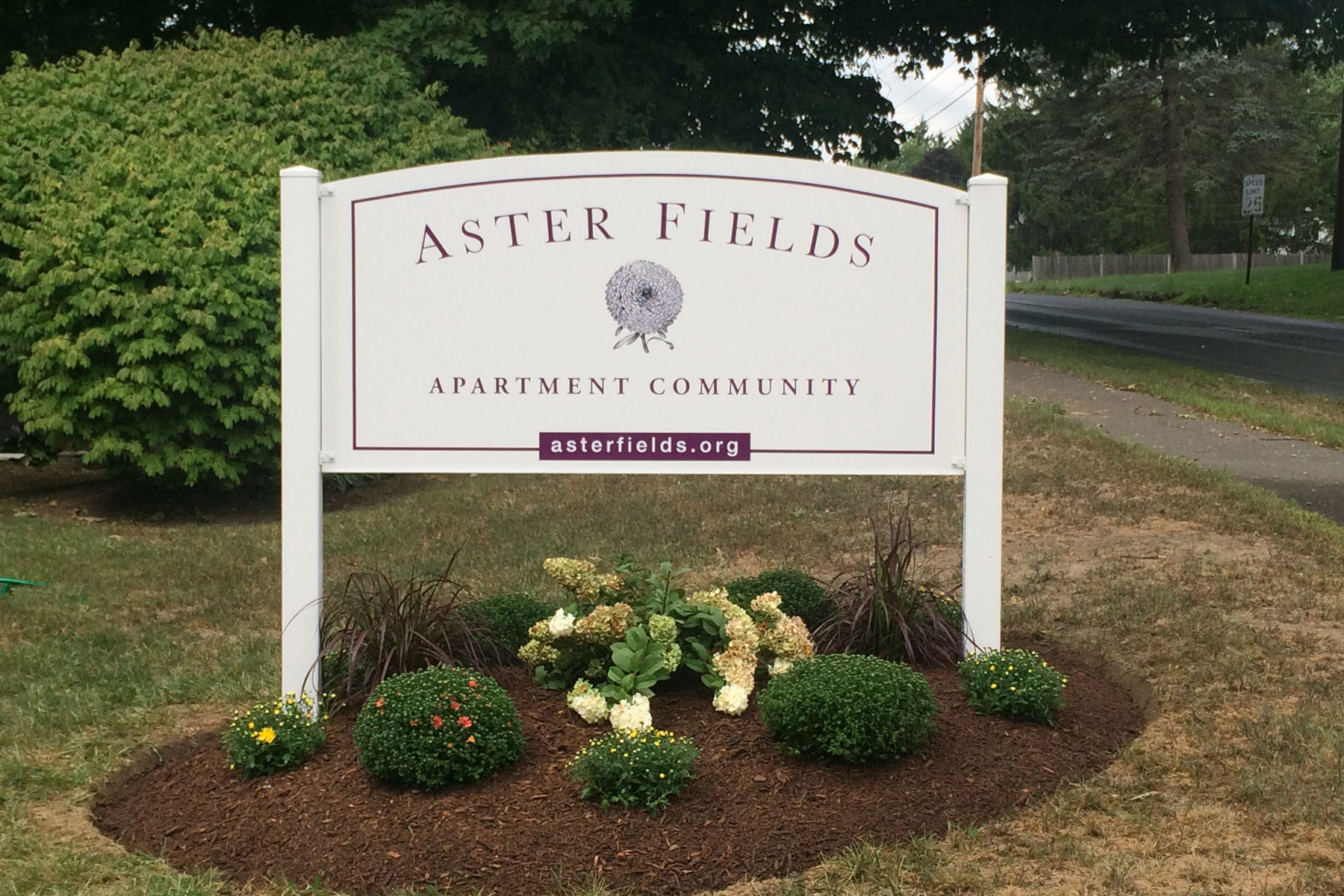Sustaining a park-like atmosphere, Aster Fields offers bird and bee-friendly landscaping, an outdoor picnic and grill area, and a community garden.